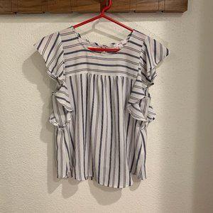 Mine White Striped Blouse